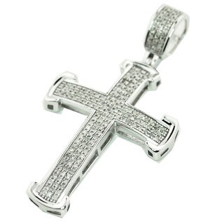 10K White Gold Diamond Cross For Men Charm Pendant 1/3ctw 40mm appxo 1.57 Inch (i2/i3, j/k) By MidwestJewellery