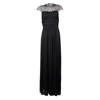 Xscape Women's Beaded Yoke Empire Waist Full Length Dress