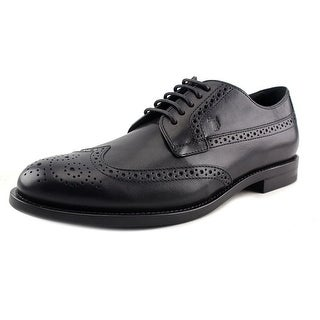Tod's Derby Bucature Cuoio Classico SX Youth Round Toe Leather Black Oxford