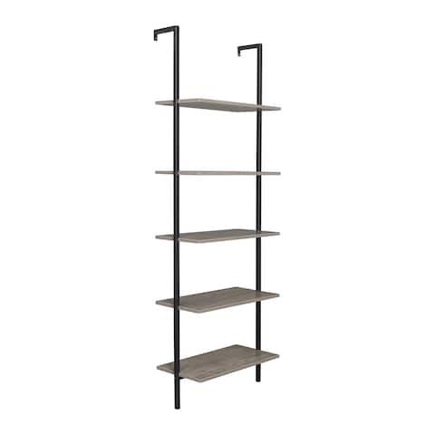5-Shelf Wood Ladder Bookcase with Metal Frame