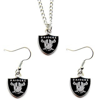 Oakland Raiders Necklace and Dangle Earring Charm Set NFL
