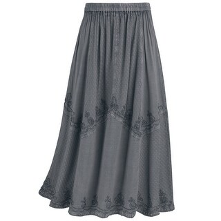 Women's Panel Skirt - Long Overdyed Embroidered Floral Stitching Elastic Waist