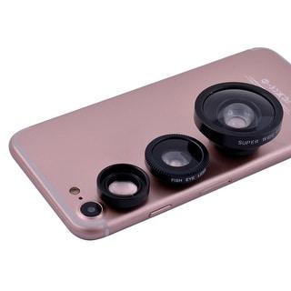 3 in 1 Phone Notebook Fish Eye Super Wide 0.4X Macro Camera Lens Kit Black