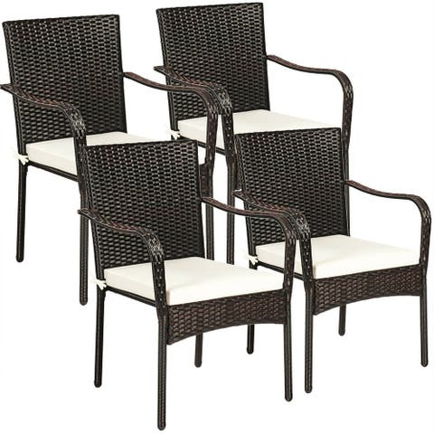 """Set of 4 Patio Rattan Stackable Dining Chair with Cushioned Armrest for Garden - 24"""" x 23"""" x 34"""" (L x W x H)"""