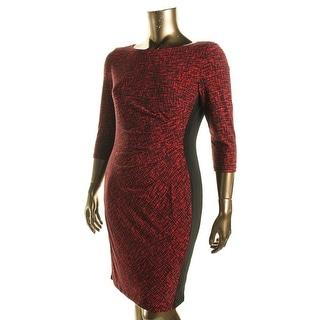 Lauren Ralph Lauren Womens Matte Jersey Printed Wear to Work Dress