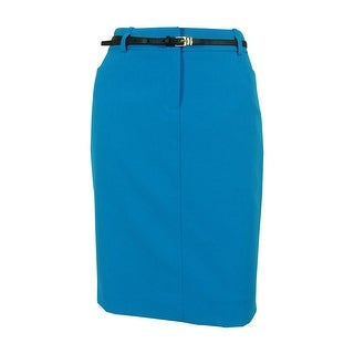Calvin Klein Women's Petite Belted Pencil 4 Pocket Skirt - Azure