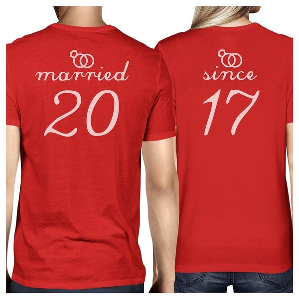 aab3489ef Shop Married Since Red Short Sleeve Tees Funny Matching Couple T-Shirts -  Free Shipping On Orders Over $45 - Overstock - 23108364