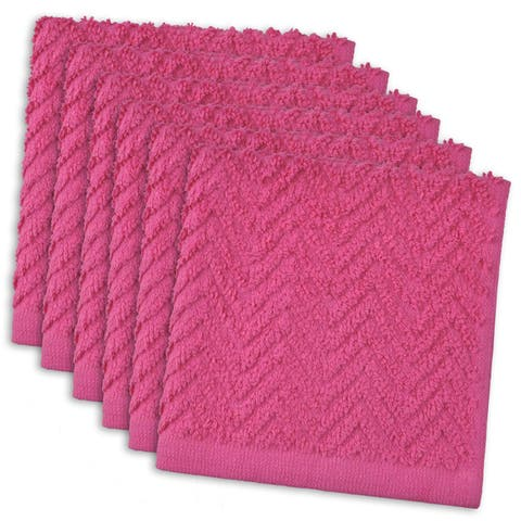 """Set of 6 Neon Pink Zigzag Pattern Ultra Absorbent Square Dish Towels 12"""" x 12"""" - N/A"""