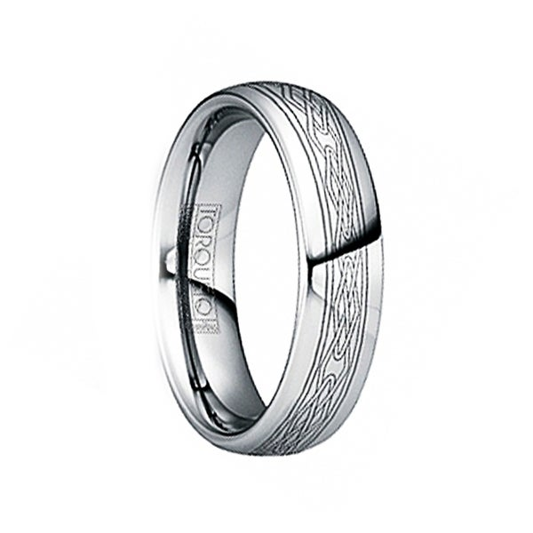 JOVIAN Engraved Celtic Tungsten Band with Dual Grooves & Polished Finish by Crown Ring