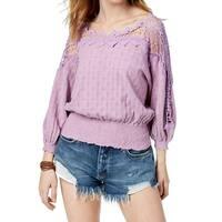 Free People Purple Women's Size Large L Crochet Shirred Blouse