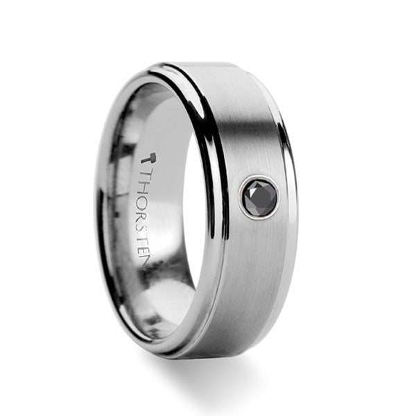 THORSTEN - COVENTRY Raised Brushed Center Tungsten Ring with Black Diamond
