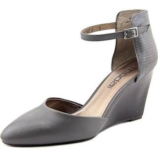 Moda Spana Harrison Women Open Toe Leather Gray Wedge Heel