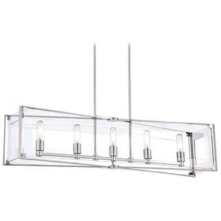 Kovacs P1405-613 5 Light Linear Chandelier from the Crystal Clear Collection