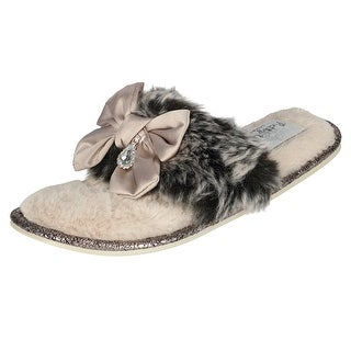 Pretty You London Women's Venice Scuff Slipper with Bow