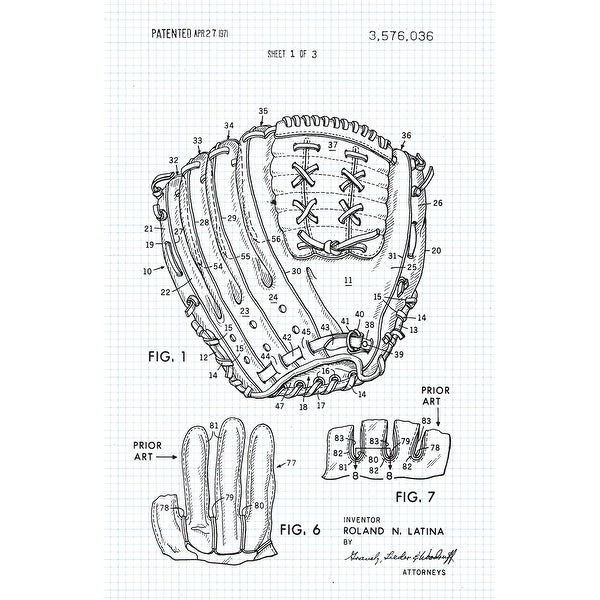 Baseball Glove Patent Poster Graphite on Blue - Sports Patents-24x16 Poster