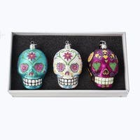 "3.5"" Vibrantly Colored Decorative Skull Hanging Ornaments with Hook - BLue"