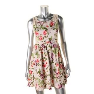 Romeo & Juliet Couture Womens Mini Dress Floral Print Lace Trim - l