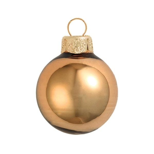 "Shiny Burnt Orange Glass Ball Christmas Ornament 7"" (180mm)"