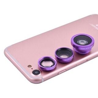 3 in 1 Fish Eye 0.67X Wide Angle Macro Fashion Camera Lens Kit Purple for Phone