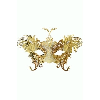 Pure Seasons Farfalla Metallo Masquerade Mask (White/Gold) - White/Gold