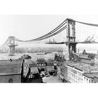 Manhattan Bridge Construction NYC - Vintage Photo (Art Print - Multiple Sizes)