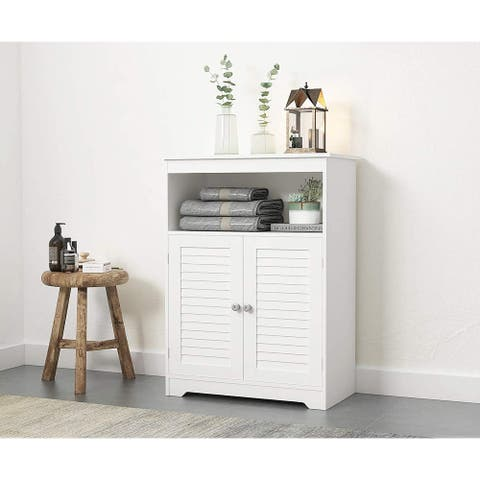 Spirich Bathroom Floor Cabinet with Double Louvered Doors and Adjustable Shelves, Free Standing Bathroom Storage Cabinets