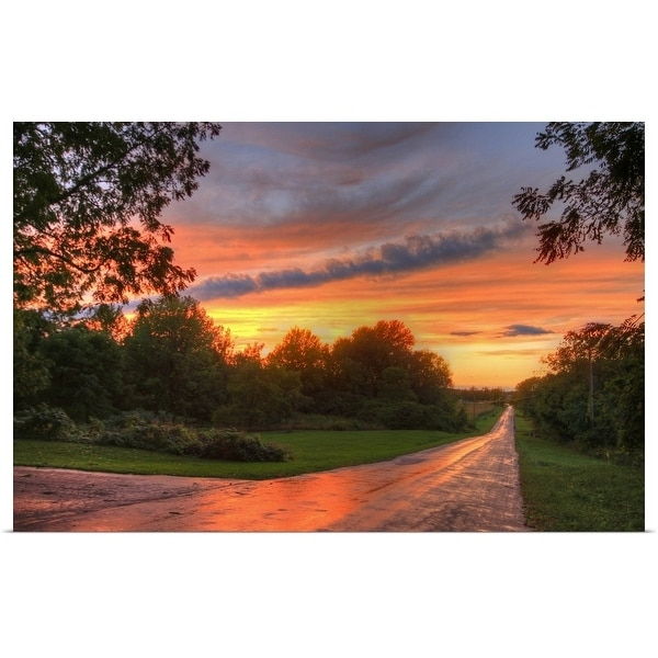 """""""Colorful Summer Sunset on Country Road"""" Poster Print"""