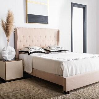 Safavieh Blanchett Light Beige Linen Upholstered Tufted Wingback Bed (Queen)