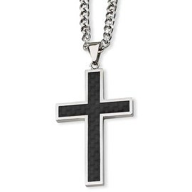Chisel Stainless Steel Carbon Fiber Cross Necklace (4 mm) - 24 in