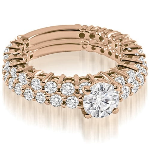 2.40 cttw. 14K Rose Gold Classic Round Cut Basket Diamond Bridal Set
