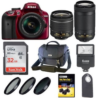 Nikon D3400 DSLR Camera w/ 18-55mm & 70-300mm Lens with Nikon Bag (Red) + Holiday Kit