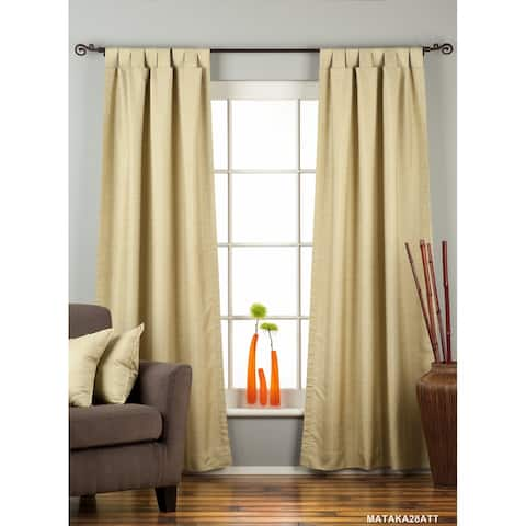 Olive Green Tab Top Matka Raw Silk Curtain / Drape / Panel - Piece