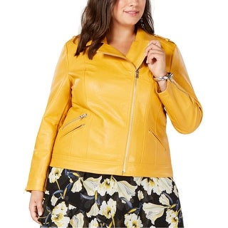 Link to I-N-C Womens Faux Leather Motorcycle Jacket, yellow, 3X Similar Items in Women's Outerwear