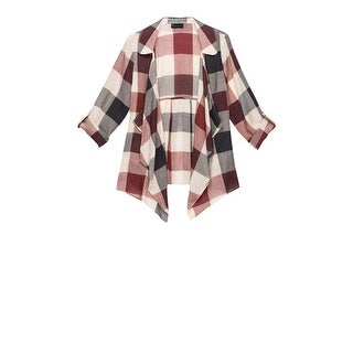 Bobeau Cropped Plaid Trench Jacket