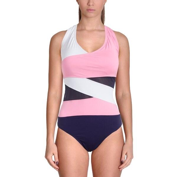 0e36b45ce3a53 Anne Cole Signature Womens Plus Mesh Inset Colorblock One-Piece Swimsuit