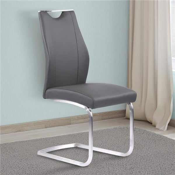 Shop Bravo Contemporary Dining Chair In Gray Faux Leather Brushed   Free  Shipping Today   Overstock.com   24781279