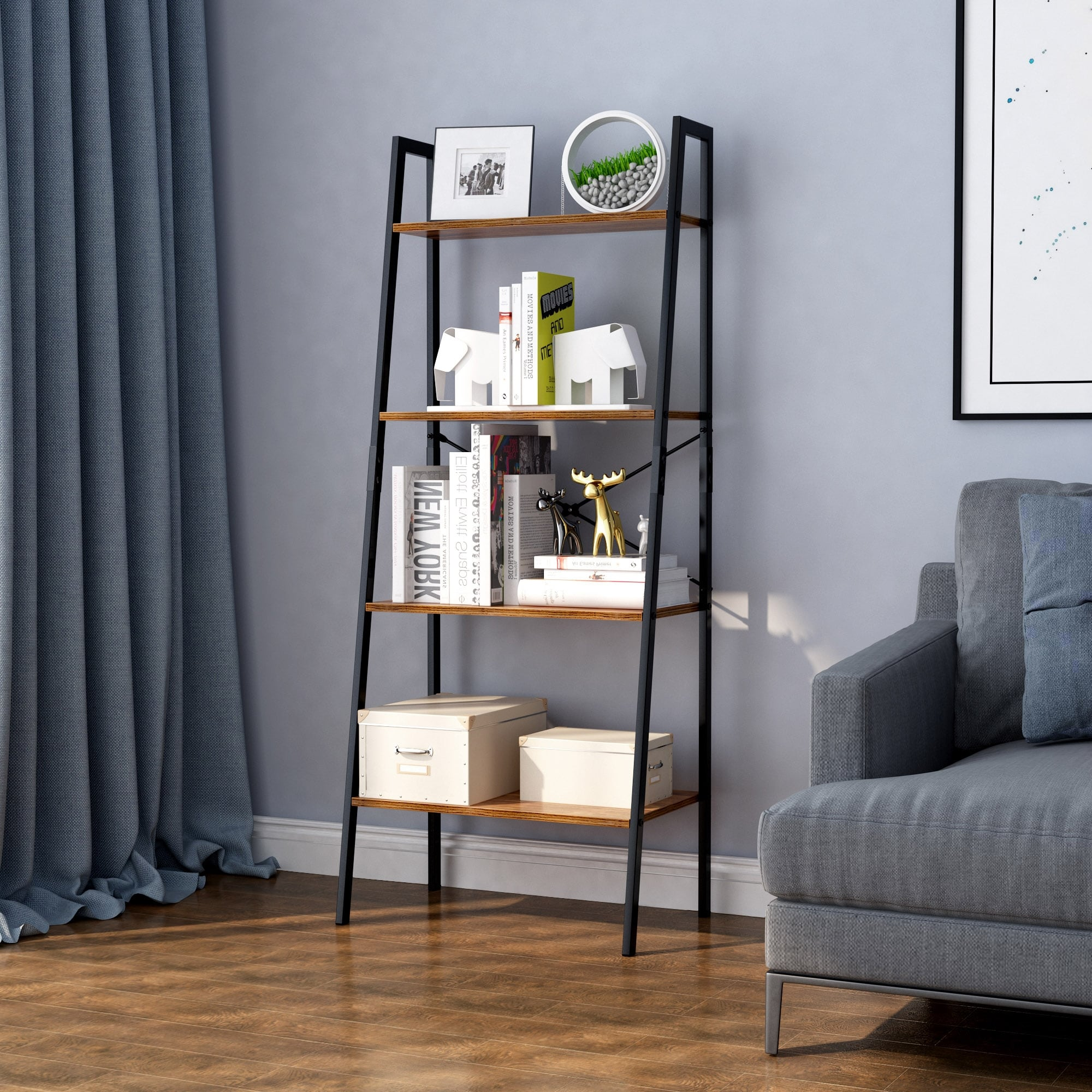 Langria 4 Tier Bookshelf Organizer With Resistant Black Metal Frame And Sturdy Multifunctional Antique Wood Design