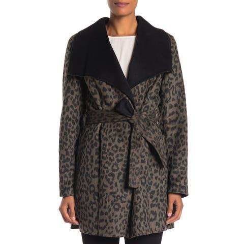 T Tahari Ella Leopard Double Faced Wrap Belted Coat