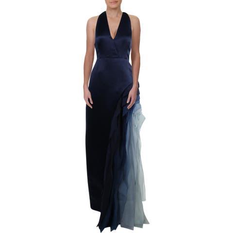 Halston Heritage Women's Satin Tiered Ombre V-Neck Halter Gown