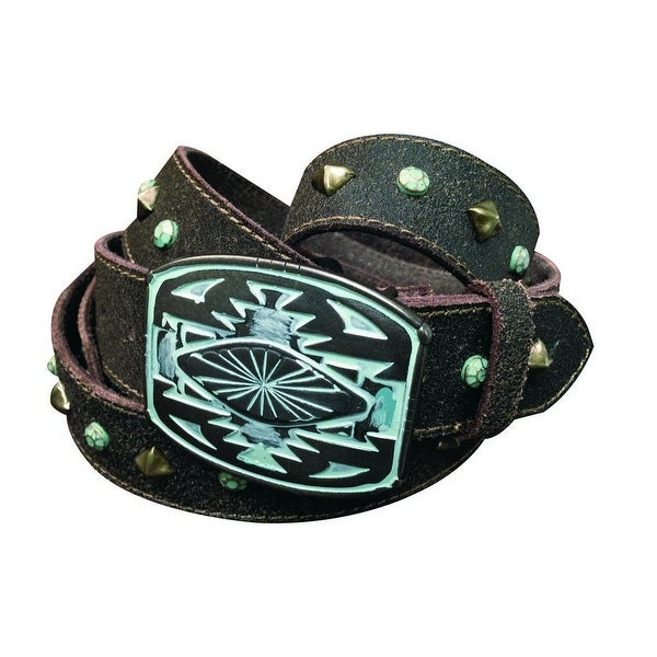Cowgirls Rock Western Belt Womens Patina Effect Brown