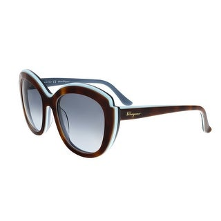 Salvatore Ferragamo SF726/S 225 Havana Aqua Cat Eye Feline Sunglasses - havana aqua - 54-20-135