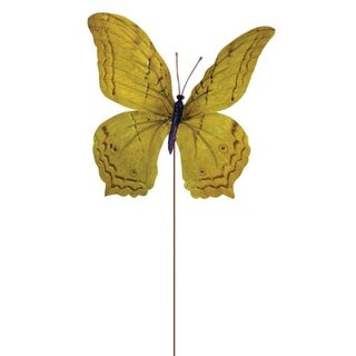 """Club Pack of 36 Yellow Butterfly Craft Pick 7"""""""