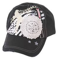 Womens Baseball Star Distressed Baseball Cap