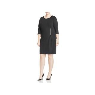 Junarose Womens Plus Wear to Work Dress 3/4 Sleeves Zipper Detail