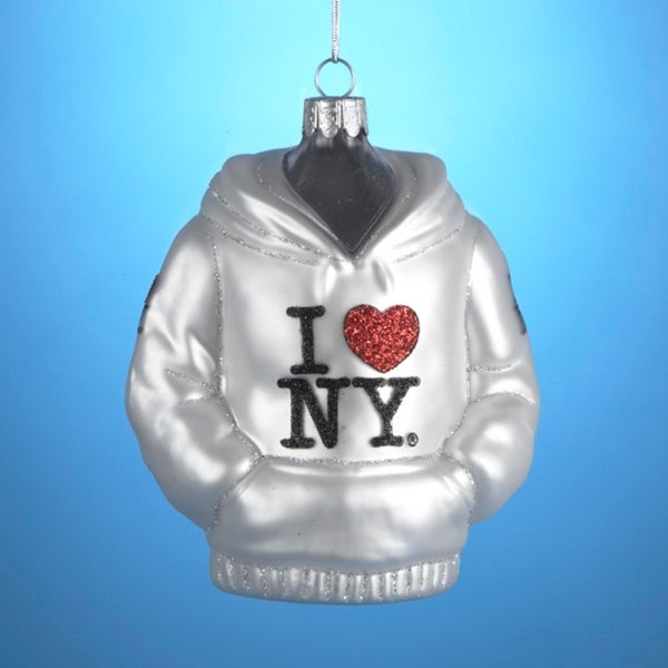 "4.5"" Hand-crafted ""I Love New York"" Hooded Sweatshirt Glass Christmas Ornament - WHITE"