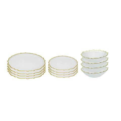 12 pc. Alabaster White Dinnerware Set