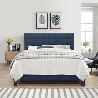 Link to Porch & Den Nocona Blue Velvet Upholstered Bed Similar Items in Bedroom Furniture