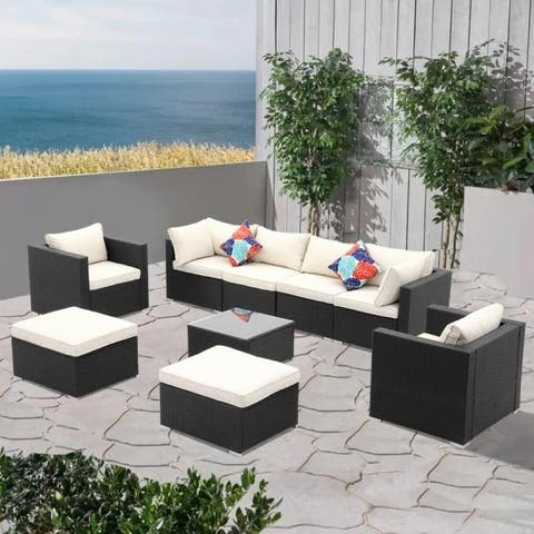 Zenova Rattan 9-piece Sofa Sectional Set