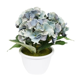 """10"""" Potted Artificial Blue Hydrangea Flower - N/A"""