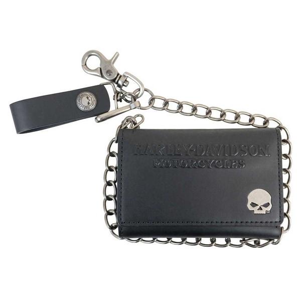 "Harley-Davidson Men's Skull Medallion Core Tri-Fold Medium Wallet COREM17-BLK - 5.5"" x 3.75"""